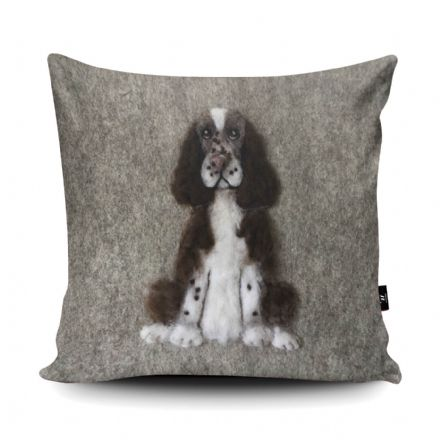 Springer Spaniel Dog Print vegan faux suede cushion with a Fibre Inner by Sharon Salt